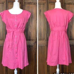 Beautiful pink button front shirt dress